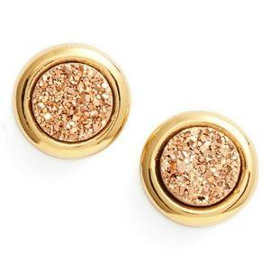 NWT Gorjana Astoria Rose Gold Druzy Stud Earrings